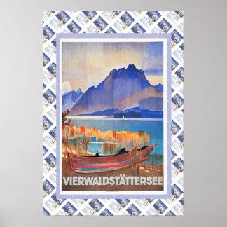 Vintages Schweizer BahnVierwaldstattersee Poster