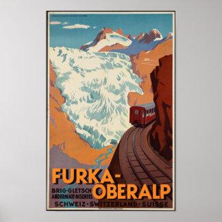 Vintages Schweizer Eisenbahn-Reise-Plakat Poster