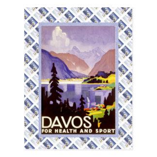 Vintages Schweizer Raulway Plakat, Davos für Gesun Postkarte