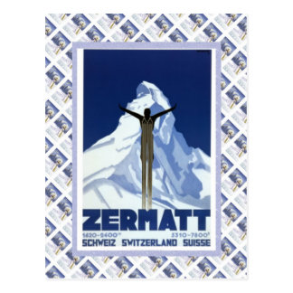 Vintages Schweizer Raulway Plakat, Zermatt Postkarte