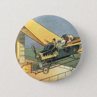 Vintages Science Fiction Steampunk Kabriolett-Auto Runder Button 5,7 Cm