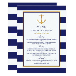 Vintages Seegoldanker-Hochzeits-Menü 11,4 X 15,9 Cm Einladungskarte