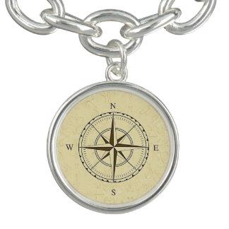 Vintages Seekompass-Rosen-Elfenbein Charm Armbänder