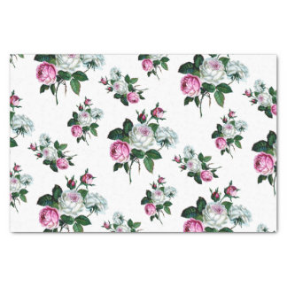 Vintages Shabby Chic-Rosa-weißes Rosen-Muster Seidenpapier