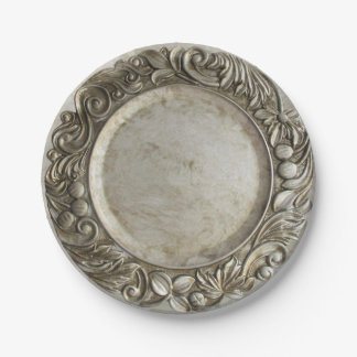 Vintages Silber/Zinn des Imitats warfen Pappteller