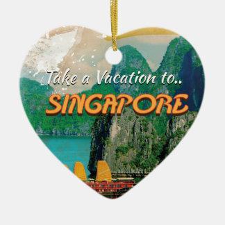 Vintages Singapur-Ferien-Plakat Keramik Herz-Ornament