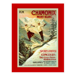 Vintages Ski-Plakat, Chamonix, Mt Blanc Postkarte