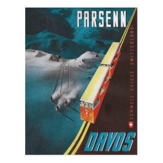 Vintages Ski-Plakat, Davos Postkarten