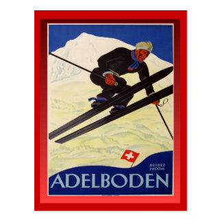 Vintages Ski-Plakat, die Schweiz, Adelboden Postkarte