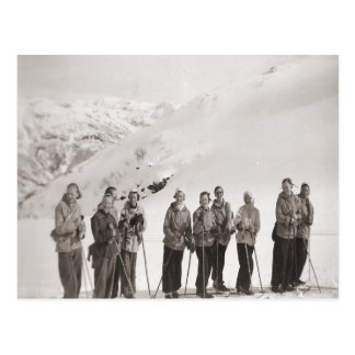 Vintages Skibild, Damenskiausflug Postkarte