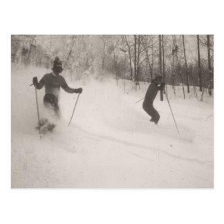 Vintages Skibild, großes Pulver! Postkarten