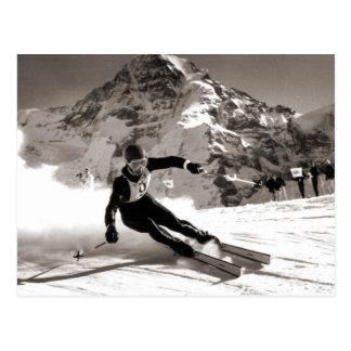 Vintages Skibild, Lauberhorn Rennen Postkarten