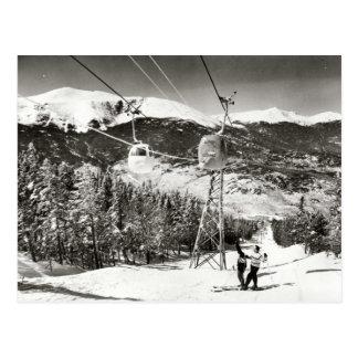 Vintages Skibild, Skiaufzug Postkarte