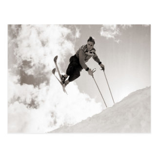 Vintages Skibild, Tricks auf Skis Postkarten