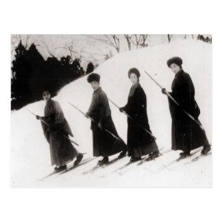 Vintages Skibild, vier japanische Damen Postkarte