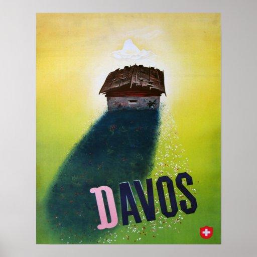 Vintages Skiplakat, Davos Poster