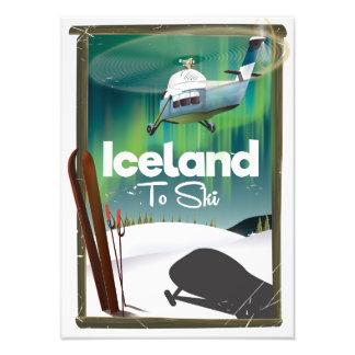 Vintages Skiplakat Islands Fotodruck