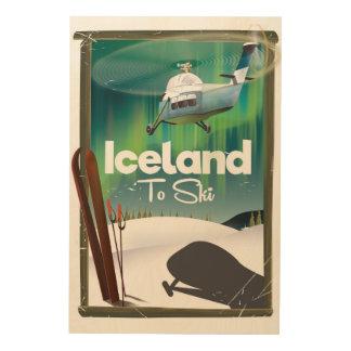 Vintages Skiplakat Islands Holzdruck