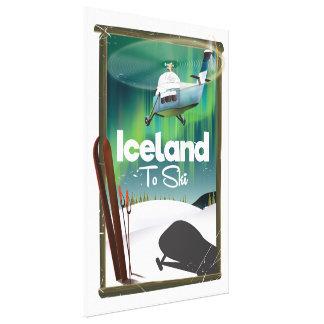 Vintages Skiplakat Islands Leinwanddruck