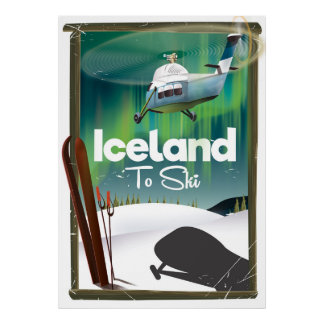 Vintages Skiplakat Islands Poster