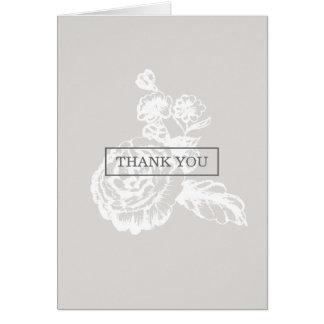 Vintages skizziertes botanisches | Grau danken Karte