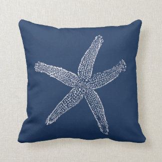 Vintages Starfish-Illustrations-Marine-Blau Kissen