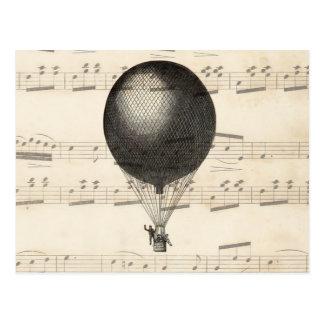 Vintages Steampunk Heißluft-Ballon-Luftschiff Postkarte