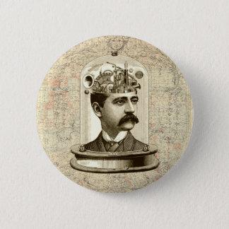 Vintages steampunk Uhrwerkgehirn, Schnurrbartmann Runder Button 5,1 Cm