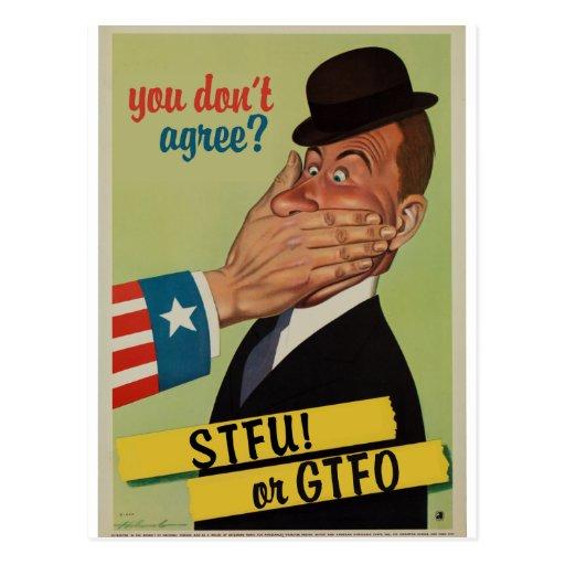 Vintages STFU oder GTFO Postkarten