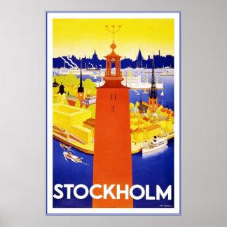 Vintages Stockholm-Reise-Plakat Poster