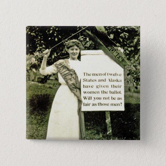 Vintages Suffragette-Button Quadratischer Button 5,1 Cm