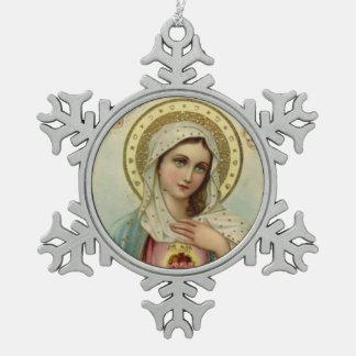 Vintages tadelloses Herz von Mary Schneeflocken Zinn-Ornament