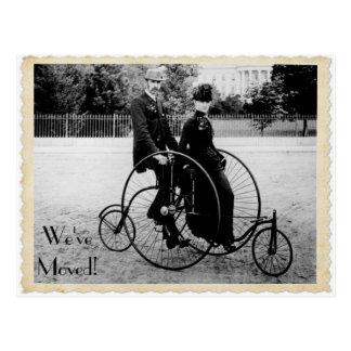 Vintages Tandemfahrrad-bewegliche Postkarte