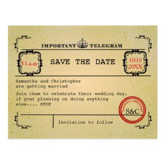 Vintages Telegramm, das Save the Date wedding ist Postkarte