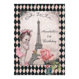 Vintages Turm-Baby-1. Geburtstag Prinzessin-Eiffel 12,7 X 17,8 Cm Einladungskarte