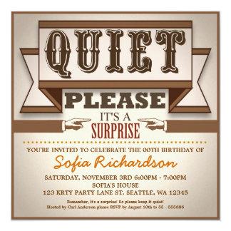 Vintages typografisches quadratische 13,3 cm einladungskarte