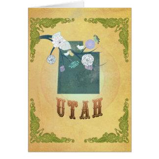 Vintages Utah-Staats-Karten-Passionsfrucht-Gelb Karte