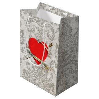 Vintages Valentine Heartwith Band 1901 und Pfeil Mittlere Geschenktüte