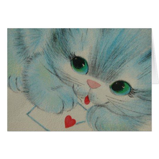 Vintages Valentine-Kätzchen Grußkarte