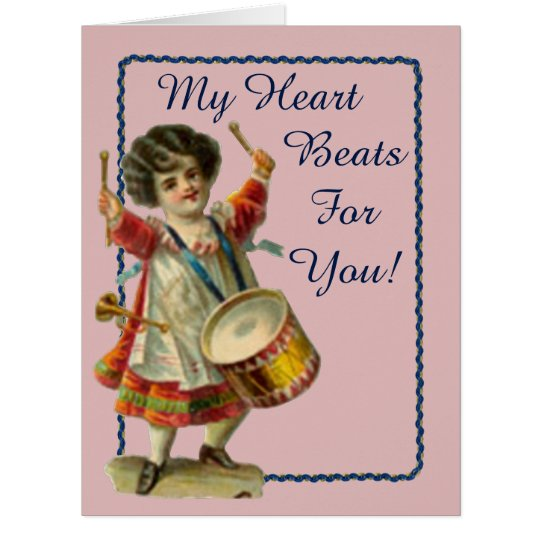 Vintages Valentine-Schlagzeuger-Mädchen Karte