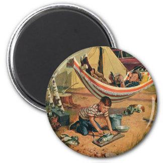 Vintages Vater-und Sohn-Camping, der glückliche Va Runder Magnet 5,1 Cm