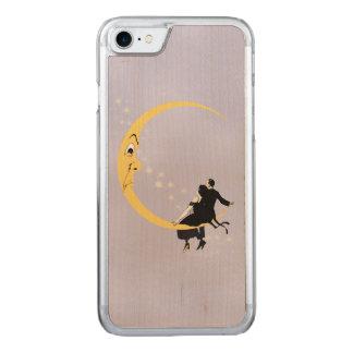 Vintages verärgertes sichelförmiges Mond-Gesicht Carved iPhone 8/7 Hülle