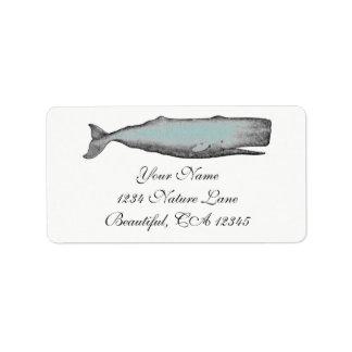 Vintages viktorianisches Wal-Schwarzes, weiße Adressetiketten