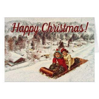 Vintages viktorianisches Weihnachten Snowy durch Karte