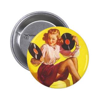 Vintages Vinylmädchen Anstecknadelbutton