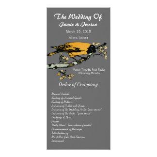 Vintages Vogel-Hochzeits-Programm Vollfarbige Werbekarte