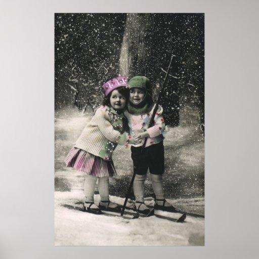 Vintages Weihnachten, beste Freunde auf Skis Posterdruck
