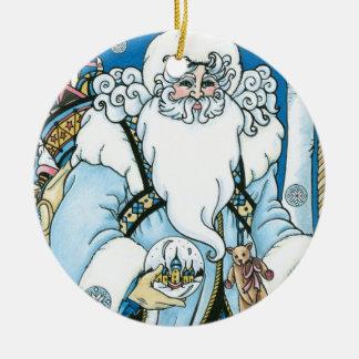Vintages Weihnachten, blauer Weihnachtsmann mit Keramik Ornament