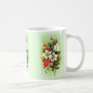 Vintages Weihnachten, Blumen und Beeren Kaffeetasse