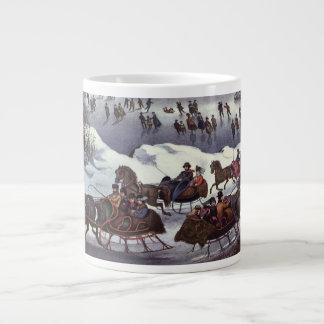 Vintages Weihnachten, Central Park im Winter Jumbo-Tasse